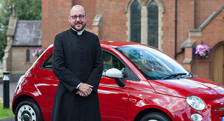 The Reverend Simon Hall and his sporty new Fiat 500