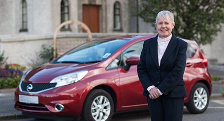 The Reverend Christine Goldie and her new Nissan Note