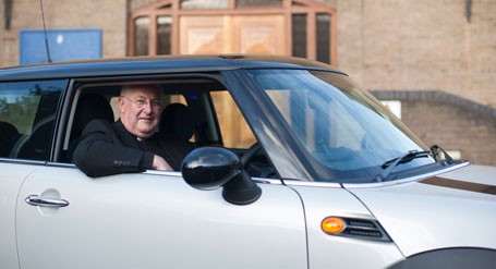 The Reverend Paul Martin and his new Mini