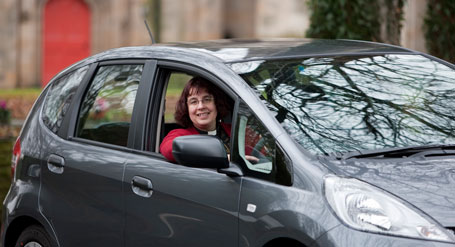 Reverend Alison Hardy and her Honda Jazz