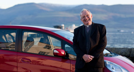 The Reverend Neil Fairlamb and his automatic Honda